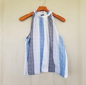 Universal threads high neck striped sleeveless top